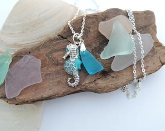 Rare Turquoise Scottish Sea Glass and Seahorse Pendant, Sterling Silver Chain Authentic Sea Glass
