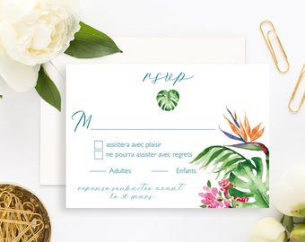 Tropical Wedding RSVP Card with white envelope - Wedding RSVP Card - Tropical Wedding - Tropical Wedding Invitation - Pineapple Exotic RSVP