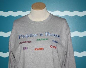 Papaw's Posse Short sleeve shirt - plus size shirt - Grandparent Shirt with grandkids names - Custom Embroidered Short Sleeve T-shirt - Gift