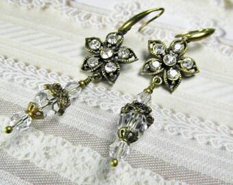 Vintage Inspired Antique Filigree Brass and Crystal Clear Flower Earrings, Long Brass Earrings