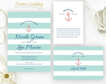 Nautical wedding invitation sets printed on white shimmer cardstock | Anchor wedding invitations | Cruise ship wedding