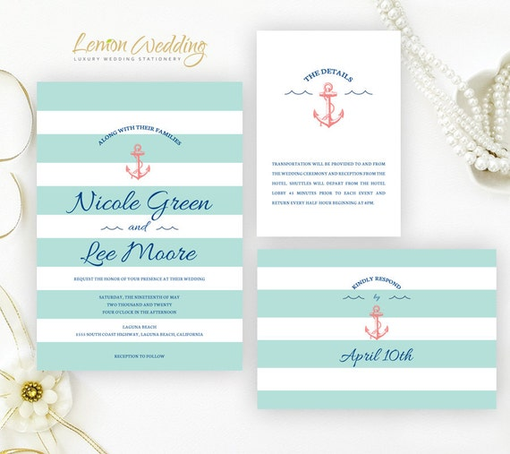 Nautical Wedding Invitation Sets Printed On White Shimmer