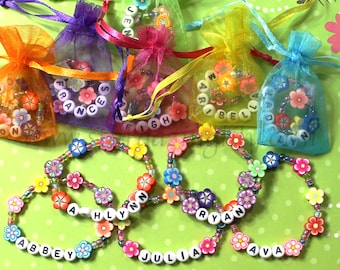 Kids Personalized Luau Party Favors Flower Lei Bracelets Children's Jewelry Name Bracelet Tiki Party Moana Themed Party Garden Party Clay