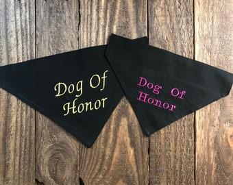 Wedding Dog Of Honor Dog Bandana Over the Collar, Dog Of Honor Dog Bandana Over the Collar