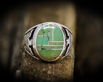 Sterling silver 8 piece inlay Navajo ring with Royston Turquoise S~10.5