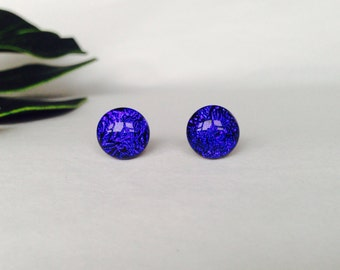 Blue Crinklized Dichroic stud earrings, on sterling silver - Fused glass dichroic studs