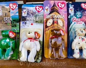 Seltene Ty McDonald Beanie Bären mit Fehler | McDonalds Spielzeug | Ty Beanie Bären | Internationalen McDonald Beanie Bären | Spielzeug im Paket