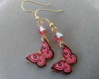 Pink Butterfly and Swarovski Crystal Earrings