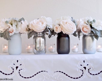 Wedding Decor / Wedding Centerpiece / Romantic Wedding /Mason Jars / Mercury Glass / Silver / Grey / Vase / Reception Decor / Set of 4 Pints