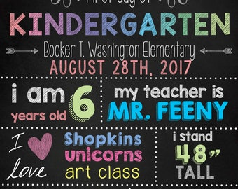First Day of Kindergarten Poster/Sign: Editable