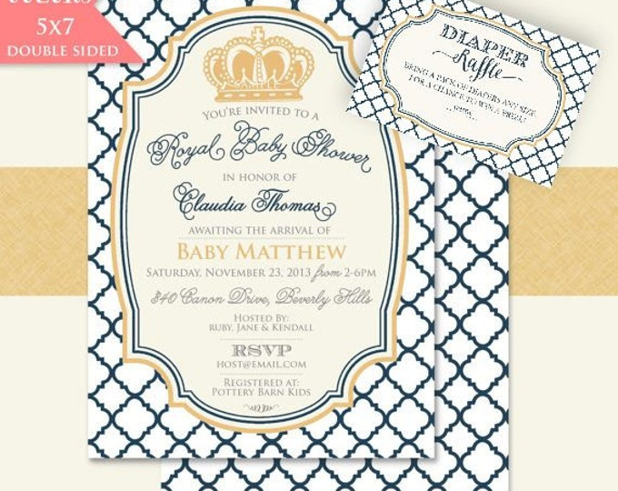 Printable invitations - baby shower invitation - prince invitation - crown invitation - Freshmint Paperie
