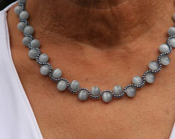 Grey color necklace with highlights