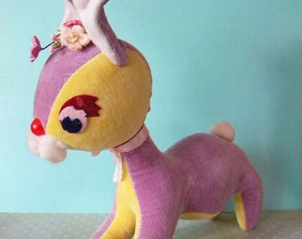 Vintage Stuffed Easter Bunny Rabbit Purple and Yellow Velveteen Dakin Dream Pets Japan