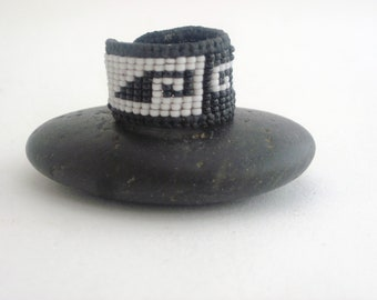 Black and White, Oaxaca, Mexican Greca Ring