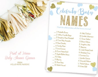 Blue and Gold Baby Shower Game . Celebrity Baby Name Game . DIY Printable . Instant Download . Baby Boy . Glitter Hearts