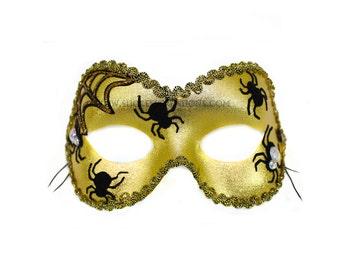 Spider Dance Velvet Applique Gold Women's Masquerade Mask - A-2304G-E
