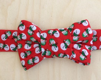 Holiday Bow Tie for Cats - Red Snowman Print