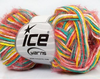 SALE ICE EYELASH blend pink yellow white Mint 50g 6 //56 fingering wool