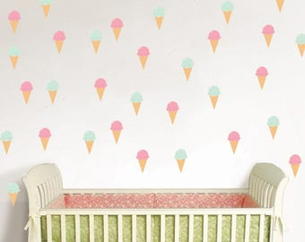 Ice cream Wall Decal, Ice Cream Decals, Ice Cream Pattern, Cone Pattern, Ice Cream Cones, Nursery Decal, Nursery Wall, Patterns, Colorful -