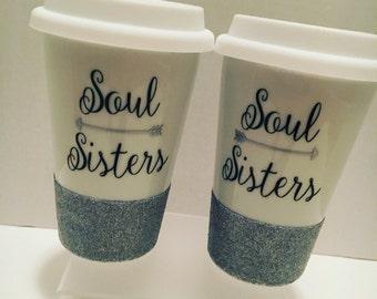Soul Sister Ceramic To Go Coffee Mugs