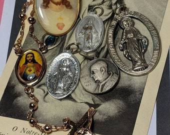 Big Sale Vintage Lot of Religious Medals Pendants Chaplet Rosary Pope Jesus Sacred Heart Pin Jewelry Destash