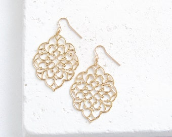 Lace Filigree Earrings | large gold or silver drop earrings | Ready to Ship