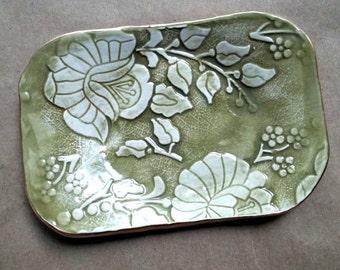Ceramic Sage Olive Damask Trinket Jewelry Holder Dish Soap dish edged in gold
