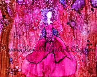 Girl in the Woods Print, Alcohol Ink Art, Figurative Art, Little Red Riding Hood, Red,  Purple, Fantasy Art, Home Decor, Wall Art, 11x14