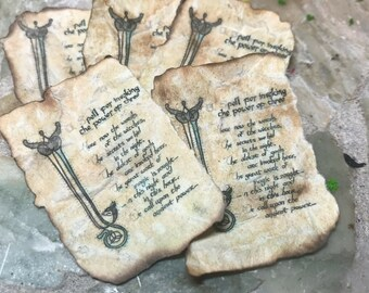 Aged INVOCATION POWER of THREE Spell Sheet Dollhouse Miniature Halloween Fairy Garden Witch Wizard