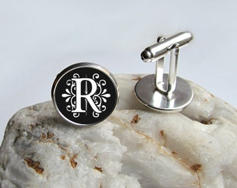 Monogram Cufflinks, Personalized Cufflinks, Elegant Black And White Cufflinks