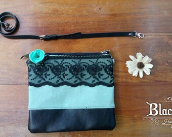 Handmade Shoulder Bag-fabric, leatherette and leather-lace