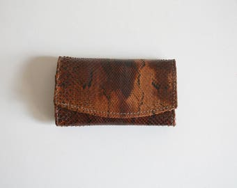 Mini Snakeskin Key Ring Wallet