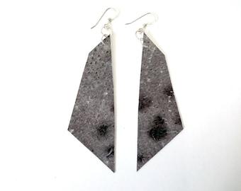 Icelandic fish skin leather earrings, geometric wolf fish