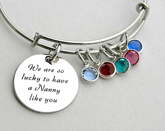 We Are So Lucky To Have A Nanny Like YOU, Stainless Steel Scripted Charm, Swarovski Birthstones, Nanny Gift, Grandmother, Stainless Steel