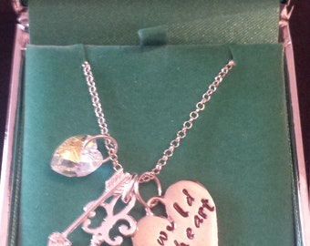 Pewter and Silver Necklace - Stamped 'Wild Heart' with Swarovski Heart Crystal, Silver Key and Silver and Heart Arrow