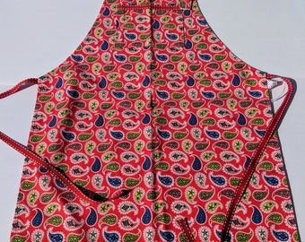 Red and white reversible apron with heart for adult