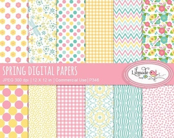 50%OFF Spring digital paper,  spring colors digital paper, floral scrapbook papers, digital scrapbooking, patterns, P346