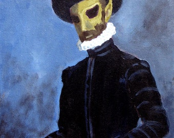 Alien portrait with a letter .The Lawyer. Ufo painting.Free shipping