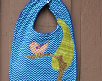 Baby bib with applique of songbird in a tree, teething, feeding, baby shower gift, mod