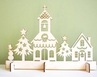 Scène de Noël église Village, Laser Cut rustique en bois, décoration pour les fêtes