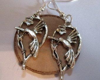 Hummingbird w/Flower Silver Earrings