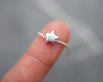 Sterling Silver Star Necklace, Mini sterling silver star necklace