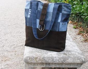 Tutoriel du Sac Glenyss - grand sac en jean et daim