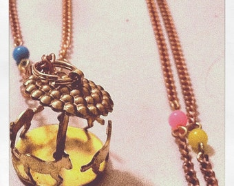 Spinning Carousel Merry Go Round Vintage Necklace