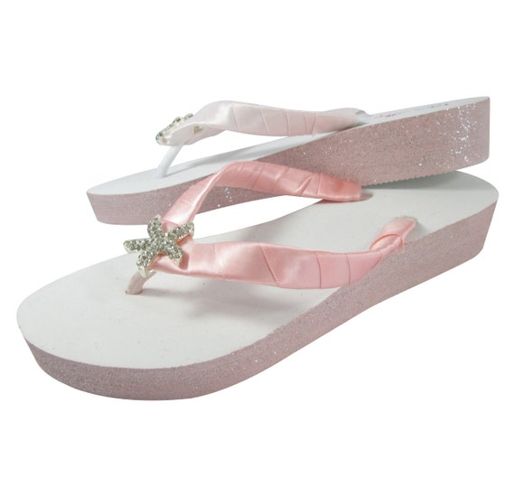or Gifts Flip Shell Beach Bridesmaid Pink for Wediing Flops Wedding Silver White with Starfish Shoes Glitter w7HvqTw