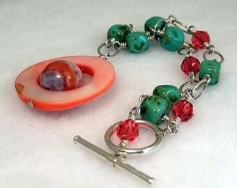 Miami Peach & Turquoise Charm Bracelet - B074