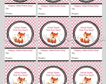 What Does The Fox Say Printable Valentine's Day Cards