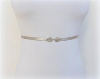Silver elastic waist belt. Filigree belt. Skinny belt. Dress belt. Thin belt. Bridal sash belt. Bridesmaids belt.