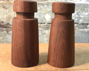 Mid Century Modern Carved Wood Salt and Pepper Shakers