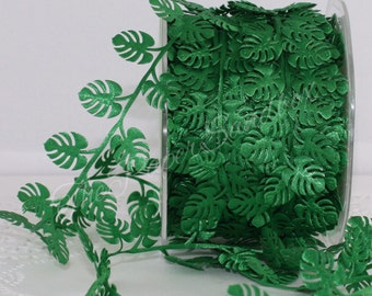 """Palm Leaves Ribbon Trim, 1/2"""" wide by the yard, Tropical Leaves Ribbon, Palm Leaf Ribbon"""